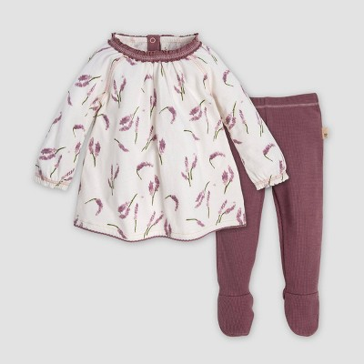 Burt's Bees Baby® Baby Girls' Organic Cotton Falling Tunic Top & Thermal Pants Set - Off White/Purple 0-3M