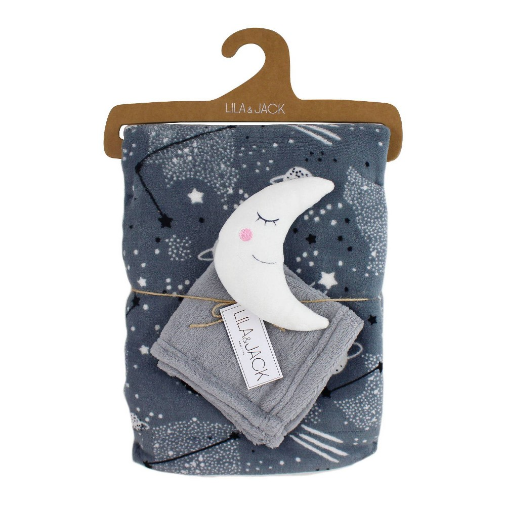 Image of Lila and Jack Gray with Black & White Stars Fleece Kids Throw with White and Gray Moon Lovey Set
