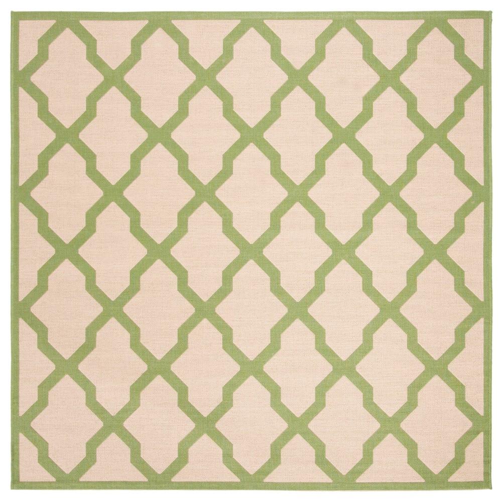 6 7 X6 7 Geometric Loomed Square Area Rug Cream Olive Safavieh