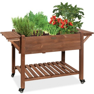 Best Choice Products 57x20x33in Mobile Raised Garden Bed Elevated Wood Planter Box w/ Folding Side Tables - Brown