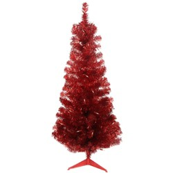Northlight 4' Pre-Lit Slim Red Artificial Tinsel Christmas Tree- Clear Lights