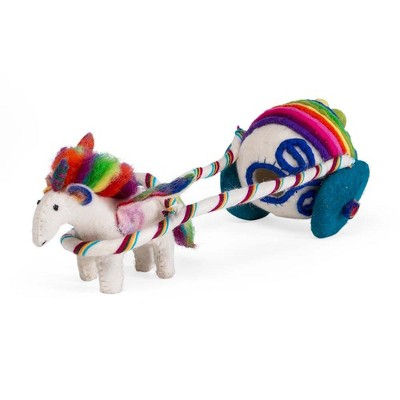 Magic Cabin - Rainbow Unicorn and Carriage Play Set for Kids - Handmade of Natural Wool Felt