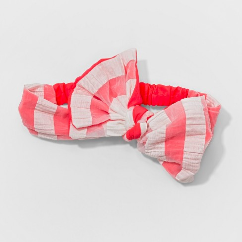 Toddler Girls' Striped Bow Headwrap - Cat & Jack™ Pink - image 1 of 1