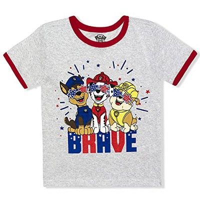 Nickelodeon Boy's Brave Paw Patrol Short Sleeve Crewneck Graphic Tee Shirt for Toddlers