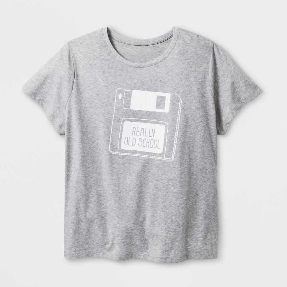 Women's Plus Size Short Sleeve 'Old School' Graphic T-Shirt - Gray 4X