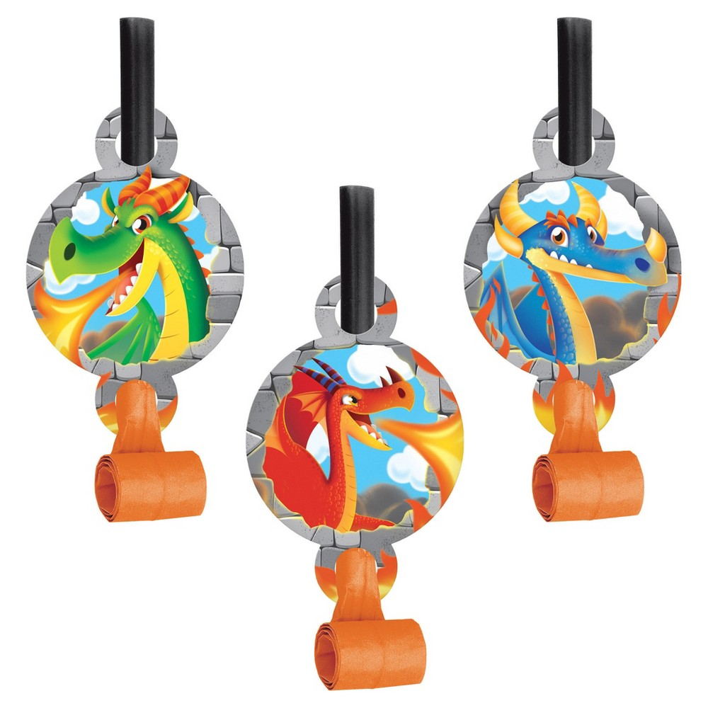 8ct Dragon Party Blowers, Party Favors