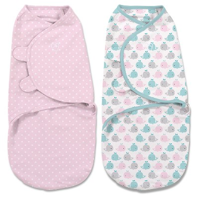 SwaddleMe® Original Swaddle 2pk - Whales/Pink Stars (S, 0-3mo)