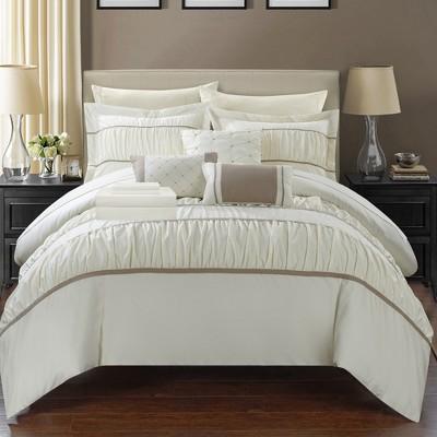 Chic Home Stieg 10 Piece Comforter Set Complete Decorative Pillows Shams - Beige