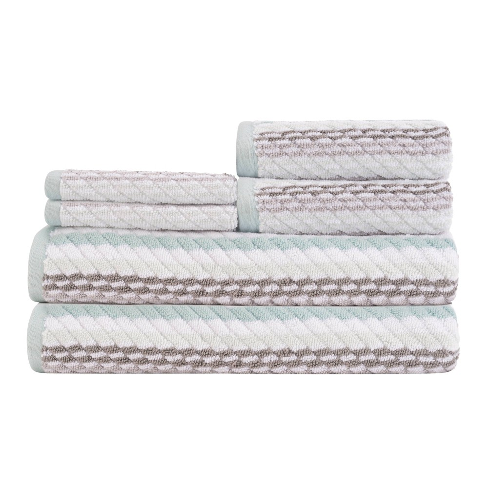 Image of 6pc Carlyle Bath Towel Set Mineral Blue - Caro Home