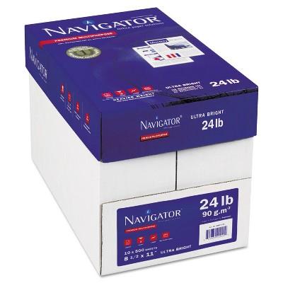 Navigator Platinum Paper 99 Brightness 24lb 8-1/2 x 11 White 5000/Carton NPL1124