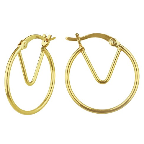Women's Hoop Earring Gold Over Sterling Silver with Triangle Cut Out - Gold - image 1 of 1