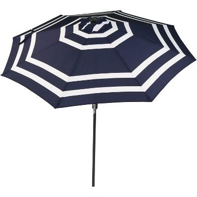 Sunnydaze Outdoor Pool Patio Umbrella with Solar LED Lights, Tilt, and Crank - 9' - Navy Blue Stripe