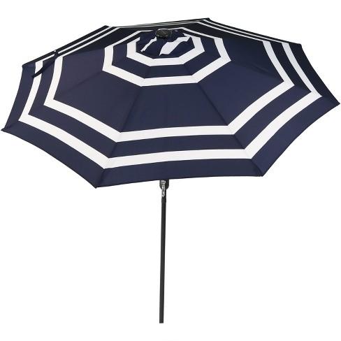 Sunnydaze Outdoor Pool Patio Umbrella, Outdoor Patio Umbrella With Solar Led Lights