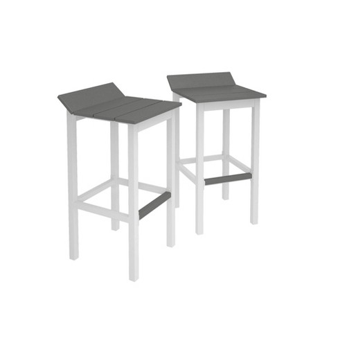Amazing Ariesa 2Pk Outdoor Bar Stools White Gray Cosmoliving Gmtry Best Dining Table And Chair Ideas Images Gmtryco