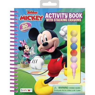 Disney Jr Mickey/Minnie Activity Book With Stacking Crayons
