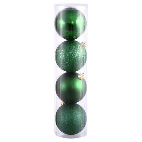 4ct Green Assorted Finishes Ball Shatterproof Christmas Ornament Set - image 1 of 1