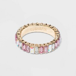 SUGARFIX by BaubleBar Baguette Iridescent Crystal Statement Ring