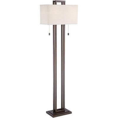 Possini Euro Design Modern Floor Lamp Double Tier Bronze Oat Meal Linen Rectangular Shade for Living Room Reading Bedroom Office