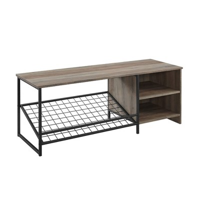"""48"""" Industrial Entry Bench with Shoe Storage - Saracina Home"""