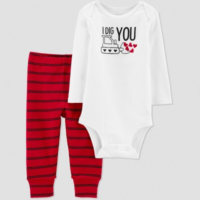 Baby Boys' 2pc I Dig You Bodysuit Set - Just One You® made by carter's White 9M