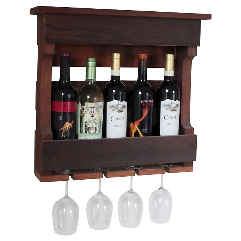 18 Quot Wall Mounted Wine Rack With Shelf Western Red Clear