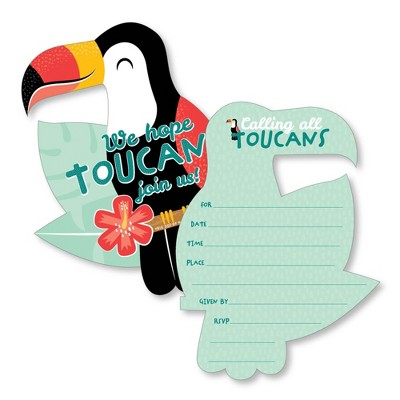 Big Dot of Happiness Calling All Toucans - Shaped Fill-In Invites - Tropical Baby Shower or Birthday Party Invite Cards with Envelopes - Set of 12