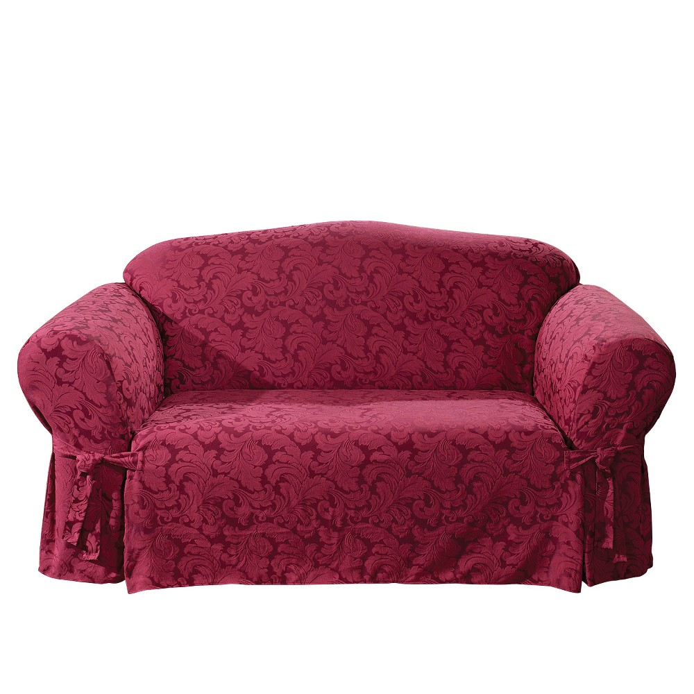 Groovy Scroll Loveseat Slipcover Burgundy Red Sure Fit Ncnpc Chair Design For Home Ncnpcorg