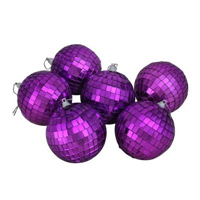 "Northlight 6ct Mirrored Glass Disco Ball Christmas Ornament Set 3.25"" - Purple"