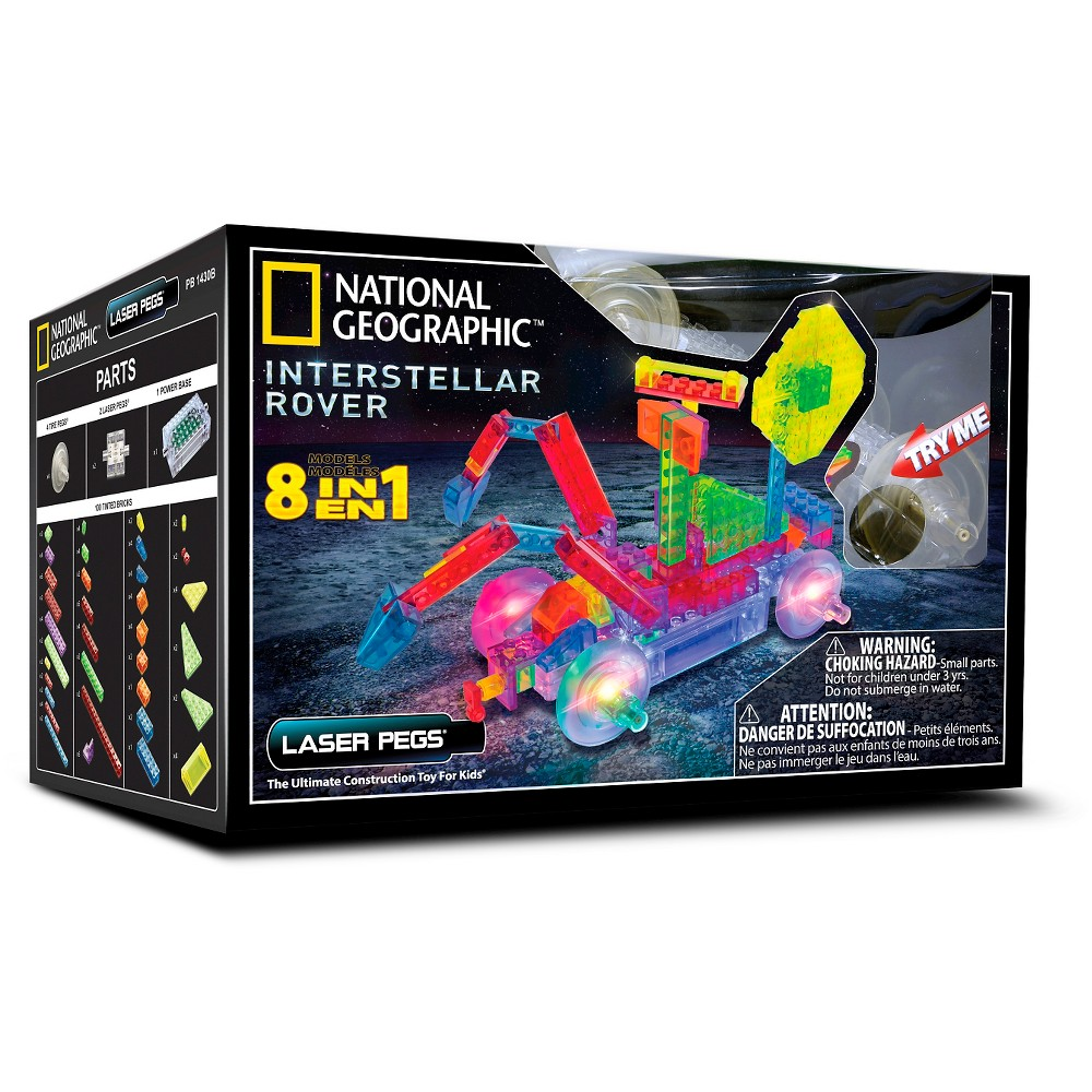 Laser Pegs 8 in 1 National Geographic Interstellar Rover Lighted Construction Toy