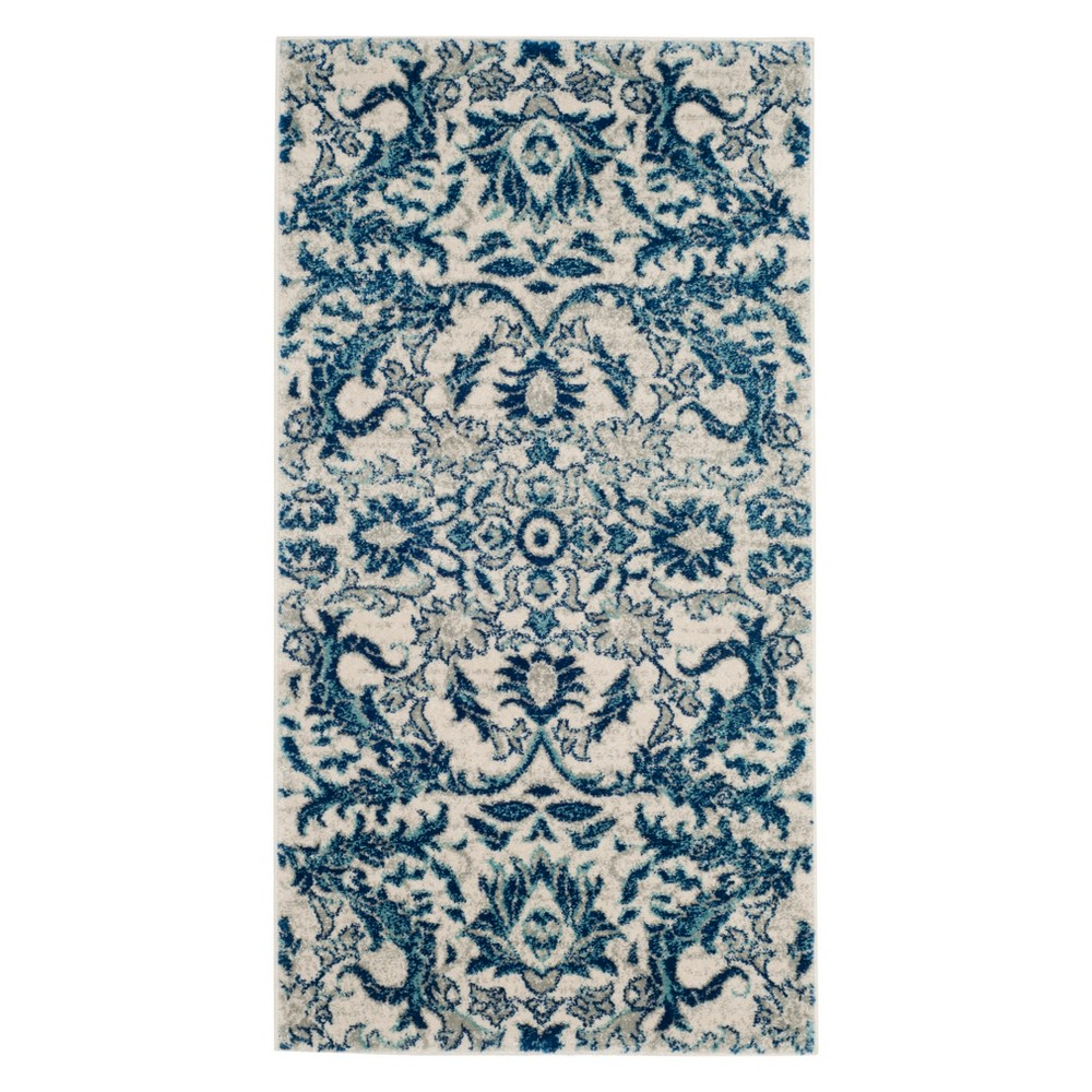 22X4 Floral Accent Rug Ivory/Blue - Safavieh Buy