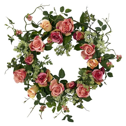 """Nearly Natural 20"""" Rose Wreath - image 1 of 3"""