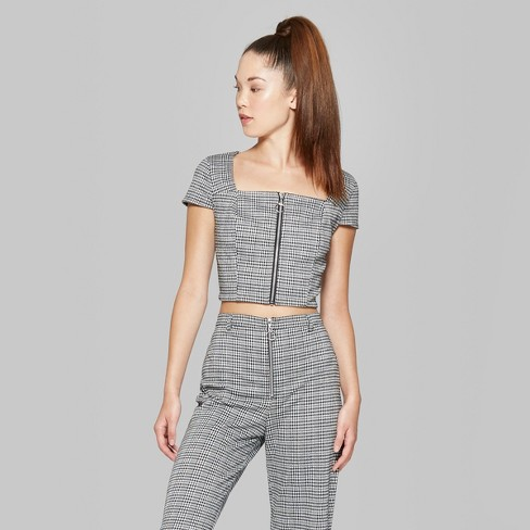 Womens Short Sleeve Zip Front Plaid Knit Crop Top Wild Fable