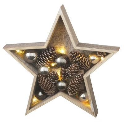 """Ganz 11"""" Gray and Brown LED Lighted Country Rustic Star Christmas Decoration"""