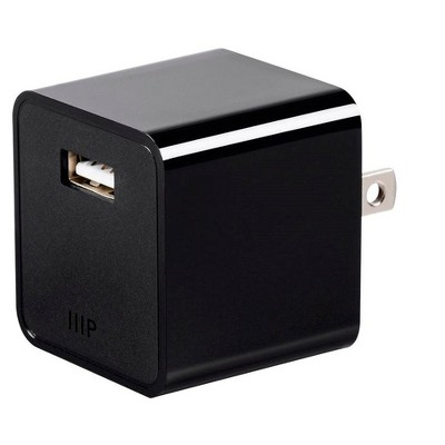Monoprice 1-Port USB Wall Charger, 2.4A, Fast Charging, Universal Compatibility, Retractable Plug - Select Series