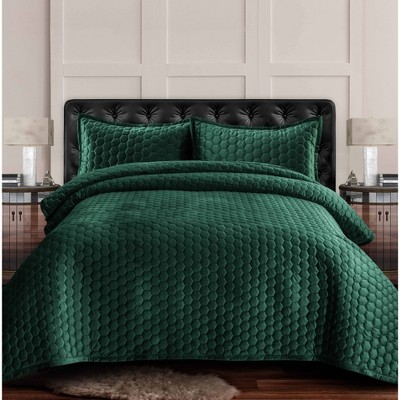 Lugano Honeycomb Velvet Oversized Solid Quilt Set - Tribeca Living