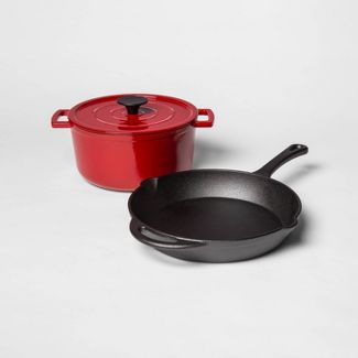 Pre-Seasoned Cast Iron Skillet and Enamel 3qt Dutch Oven Set Red - Threshold™