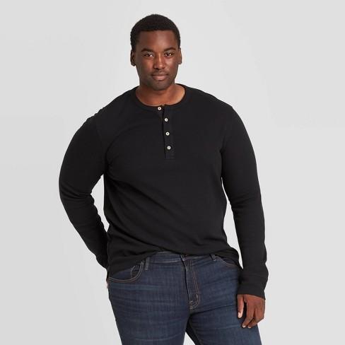 Men's Big & Tall Standard Fit Textured Long Sleeve Henley T-Shirt - Goodfellow & Co™ - image 1 of 3