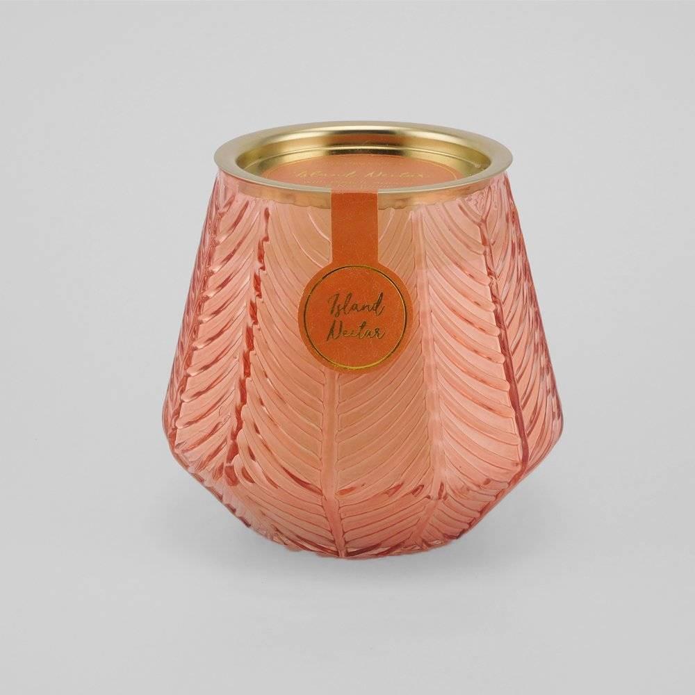 12oz Etched Glass Jar Candle Island Nectar - Opalhouse