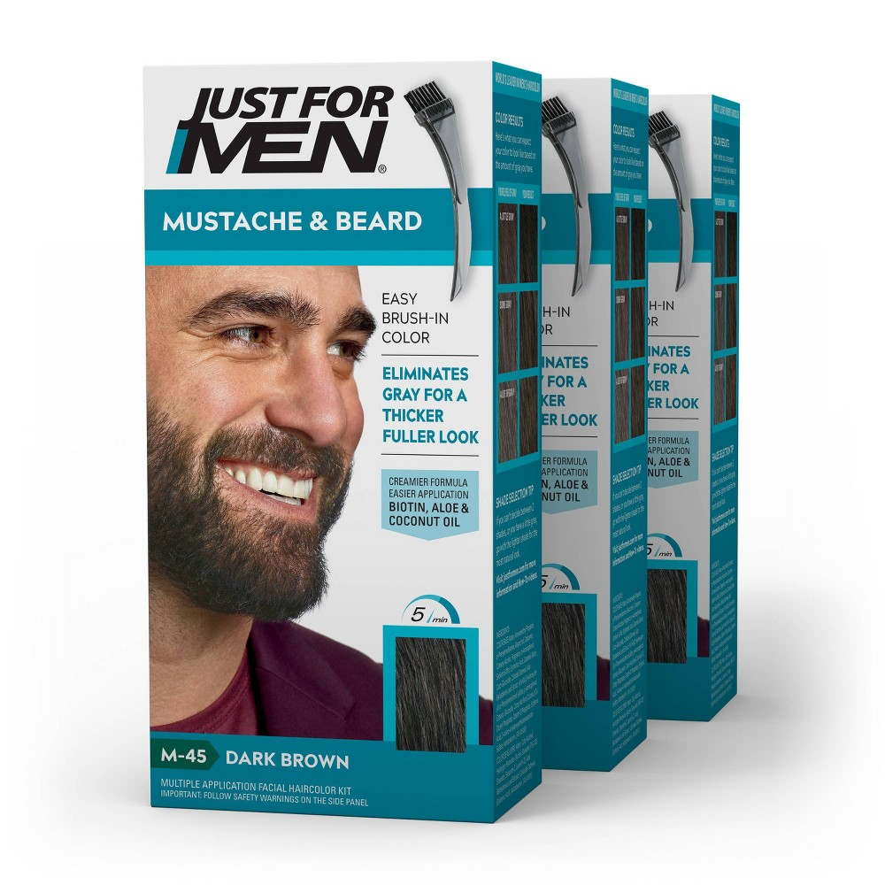 Image of Just For Men Mustache & Beard Beard Color - ing for Gray Hair with Brush Included Color - Dark Brown M45 - 3pk