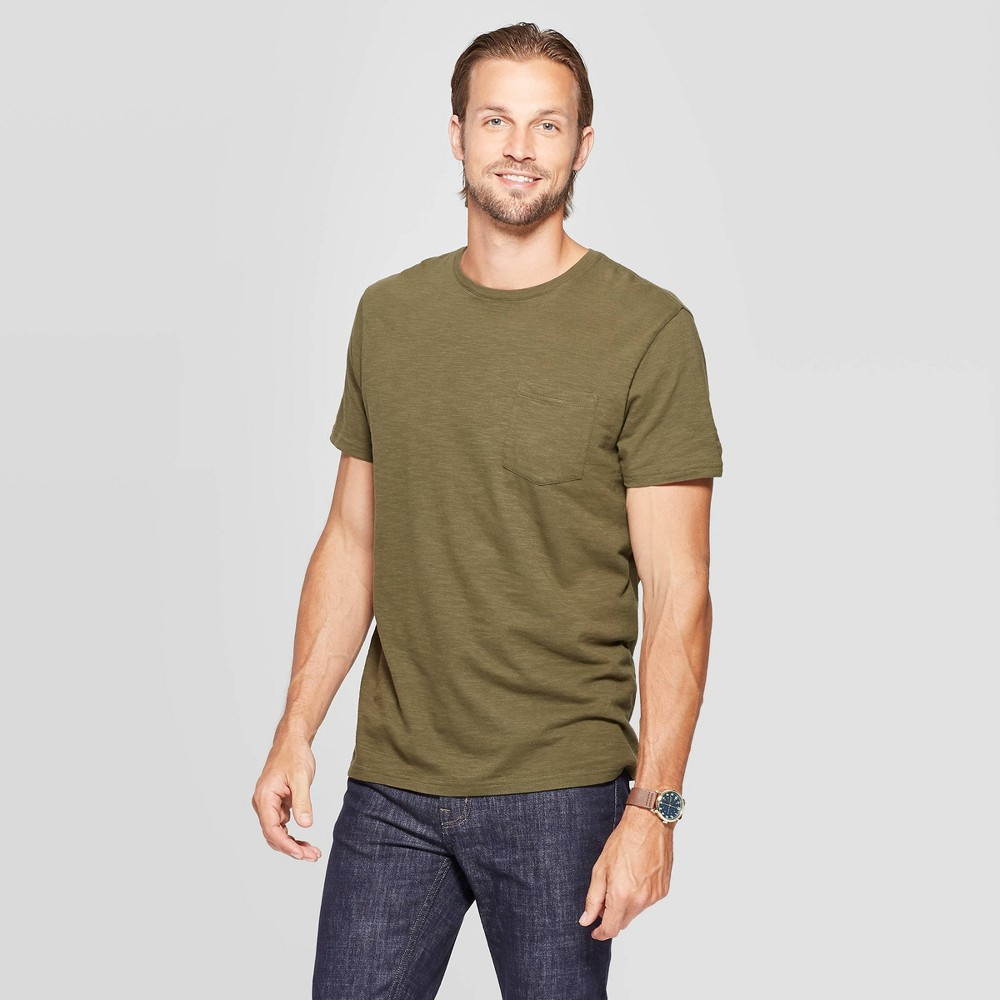 Mens Standard Fit Slub Pocket Crew Neck T-Shirt - Goodfellow & Co Late Night Green S Buy