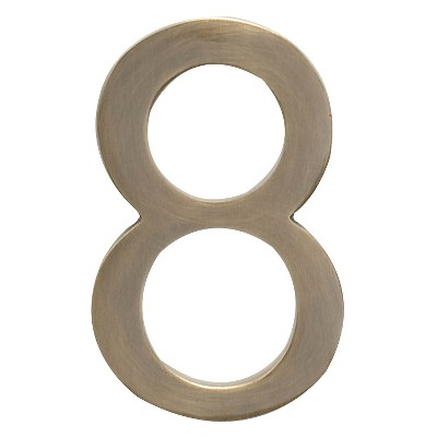 """Architectural Mailbox 4"""" Cast Floating House Number 8 Antique Brass"""