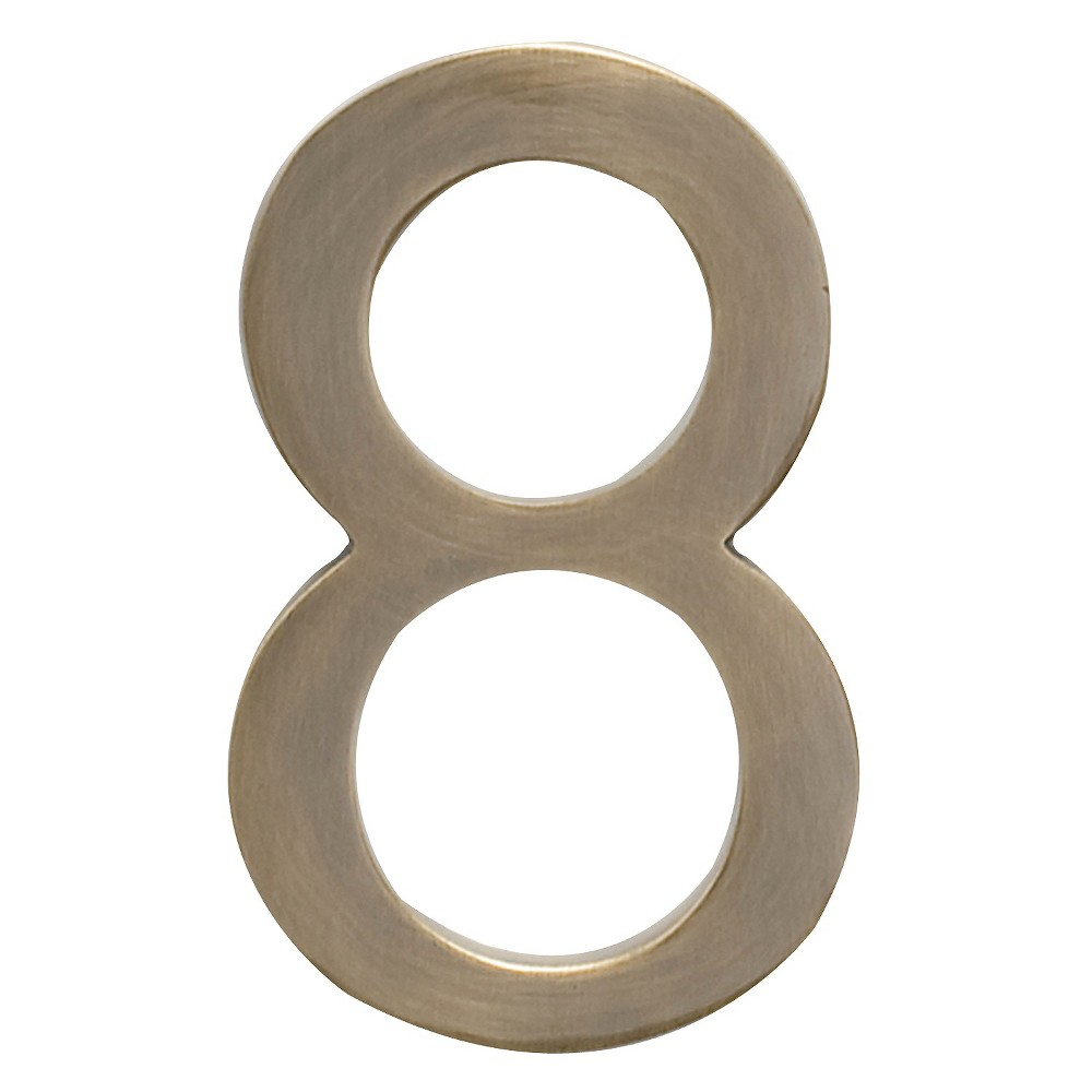 Architectural Mailbox 4 Cast Floating House Number 8 Antique Brass