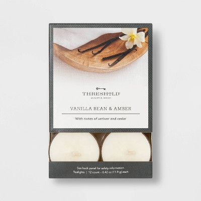 12pk Tealight Vanilla Bean and Amber Candle - Threshold™