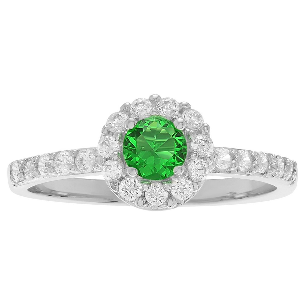 1/3 CT. T.W. Round-cut Peridot Cubic Zirconia Engagement Prong Set Ring in Sterling Silver - Green, 6, Girl's