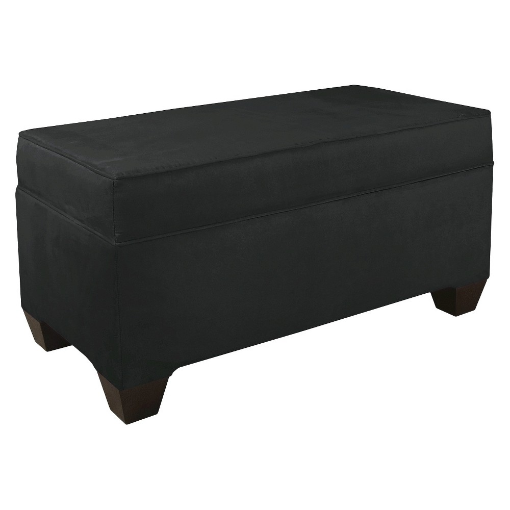Skyline Custom Upholstered Box Seam Bench - Skyline Furniture, Velvet Black
