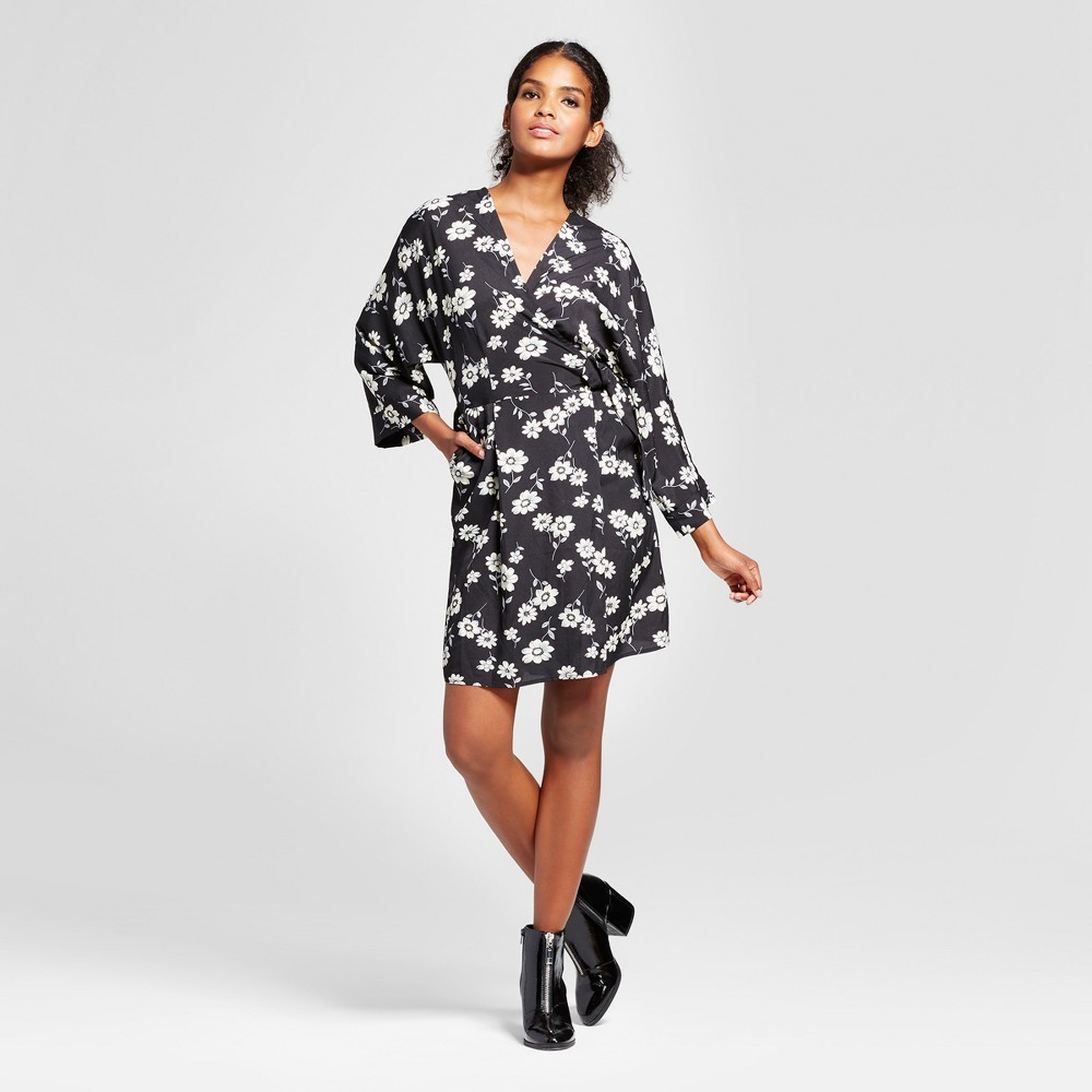Women's Floral Dolman Sleeve Wrap Dress - K by Kersh Black L