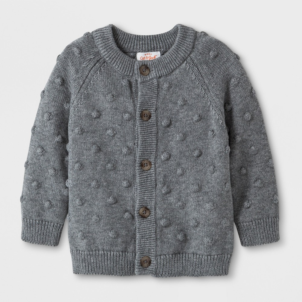 Image of Baby Boys' Button-Up Cardigan Sweater - Cat & Jack Gray 12M, Boy's