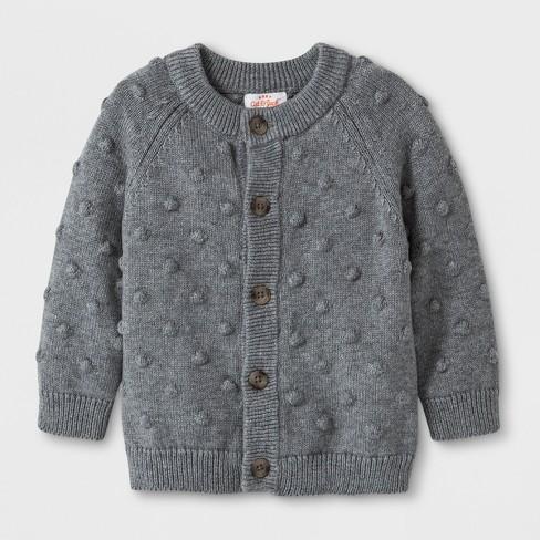 Baby Boys Button Up Cardigan Sweater Cat Jack Gray Target