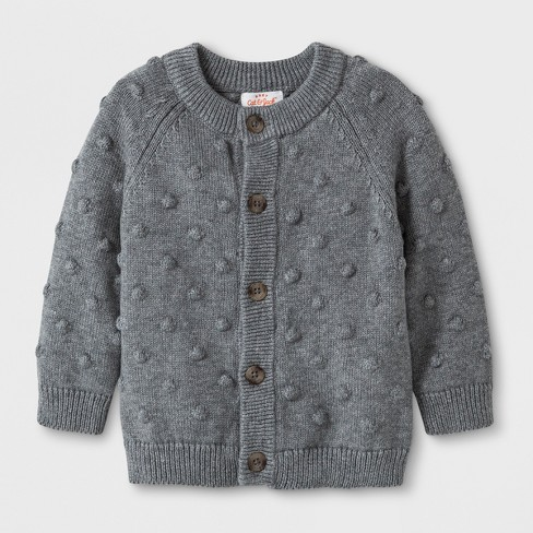 Baby Boys' Button-Up Cardigan Sweater - Cat & Jack™ Gray - image 1 of 1
