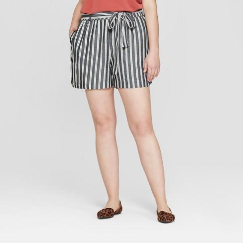 81ce21d6a70 Women s Plus Size Striped Tie Waist Shorts - Ava   Viv™ Gray 18W ...